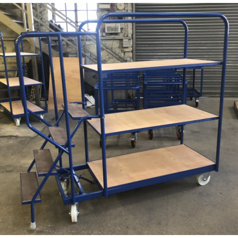 SOPT06 - Heavy Duty Stepped Order Picking Trolley, 4 Step, 5 Tier