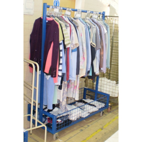NHS Laundry Rail with Bottom Basket