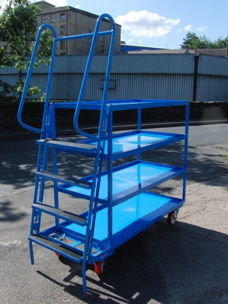 SOPT09 - Heavy Duty Vertical Stepped Picking Trolley, 5 Step, 4 Tier