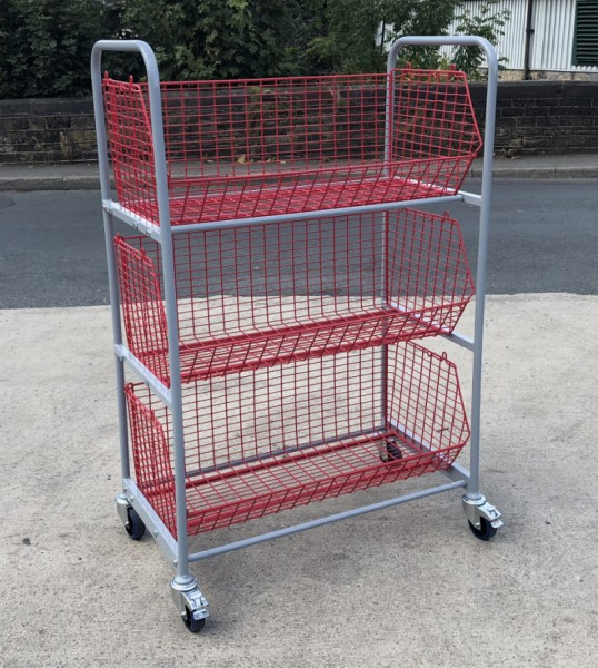 WCT2 - Wire Basket Trolley 3 Baskets size 980 x 460 x 350 mm