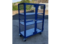AMST1 - Adjustable Shelf, Lockable Mesh Trolley 1300 x 670 x 1800 mm