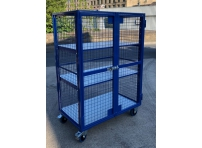 AMST2 - Adjustable Shelf, Lockable Mesh Trolley 1300 x 770 x 1800 mm