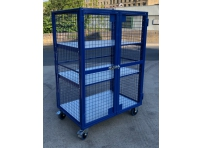 AMST3 - Adjustable Shelf, Lockable Mesh Trolley 1300 x 870 x 1800 mm